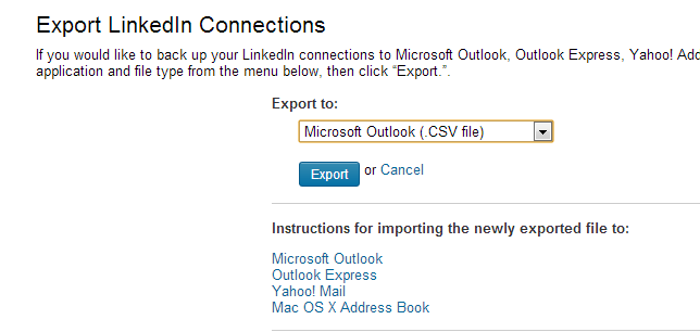 2013 04 05 16 04 42 My Contacts  Export LinkedIn Connections   LinkedIn – Google Chrome How to export LinkedIn contacts into Excel?