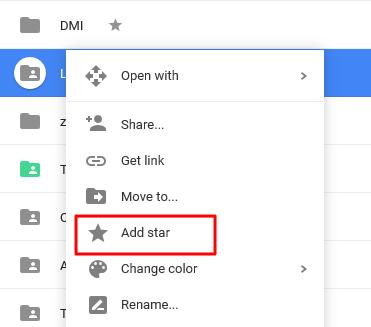 add star  to the folder