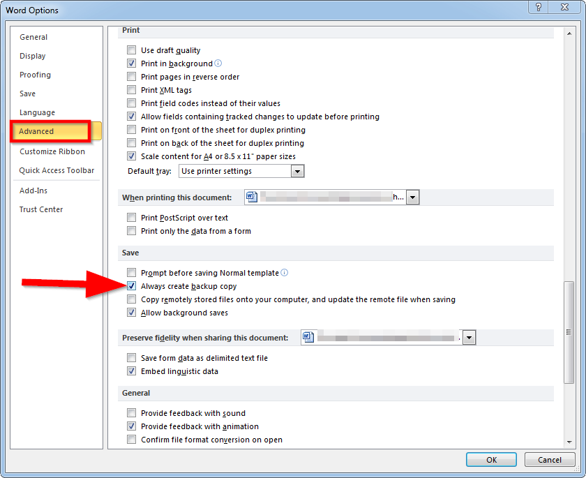 advanced word options Three steps for preventing data loss while working in MS Office