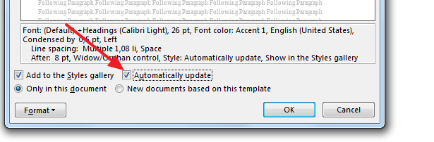 automatically update How to Modify or Create a New Style in Microsoft Word 2013?