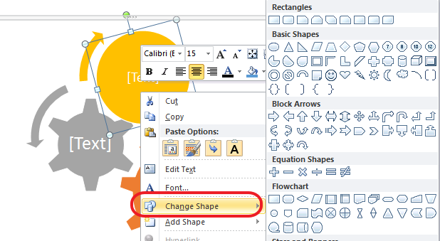change shape look Working with SmartArt Graphics in Microsoft Office