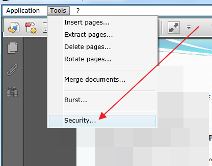 click on security How to Protect Your PDF File from Printing and Converting