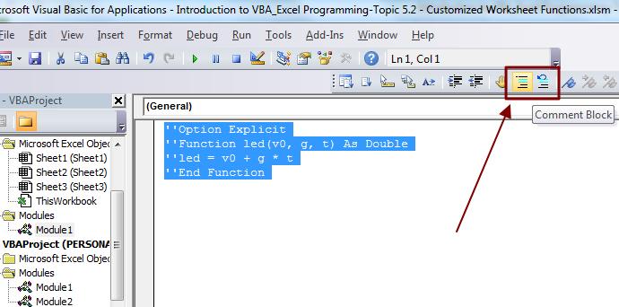 comment vba code
