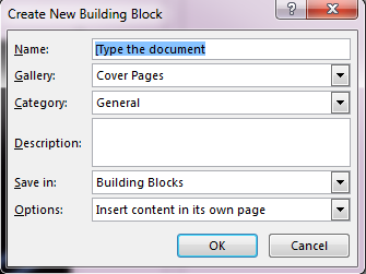 create new building block How to Create A Cover Page in Microsoft Word 2013