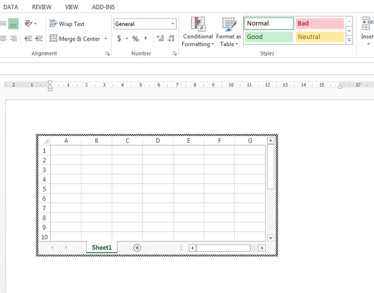 excel inside word document