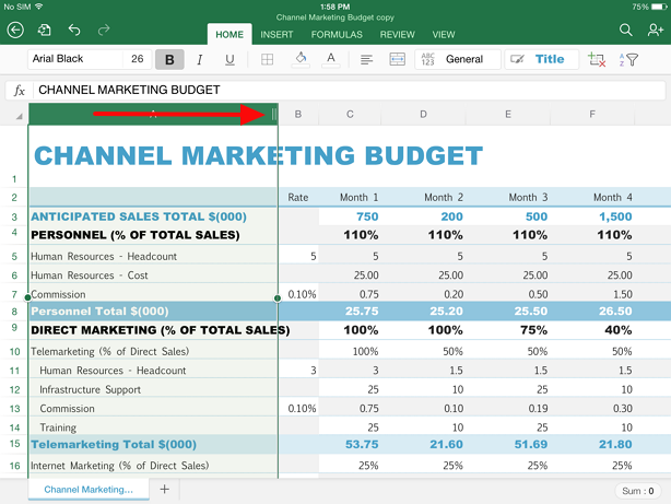 expand a column or row in excel ipad Guide for selecting data in Excel on iPad