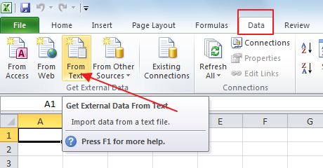 importdataintoexcel1 How to export Gmail contacts to Excel?
