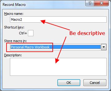 macro name and description
