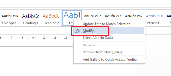 modify stile in word How to Modify or Create a New Style in Microsoft Word 2013?