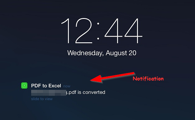 notification that conversion is finished Free PDF to Excel converter for iPad and iPhone