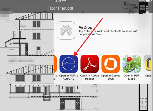 open in pdf to autocad tool Convert AutoCAD designed PDF drawings to .dwg format on your iPad or iPhone