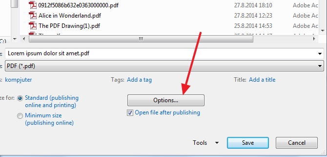 options when saving into pdf How to create PDF with bookmarks in Microsoft Word?