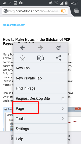 page option mozila firefox android