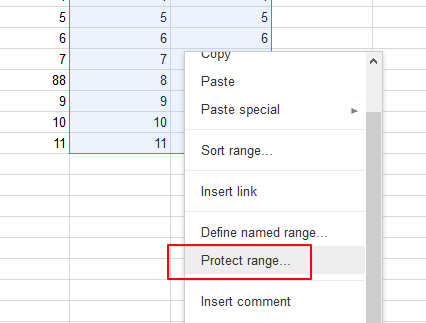 protect range in google sheets