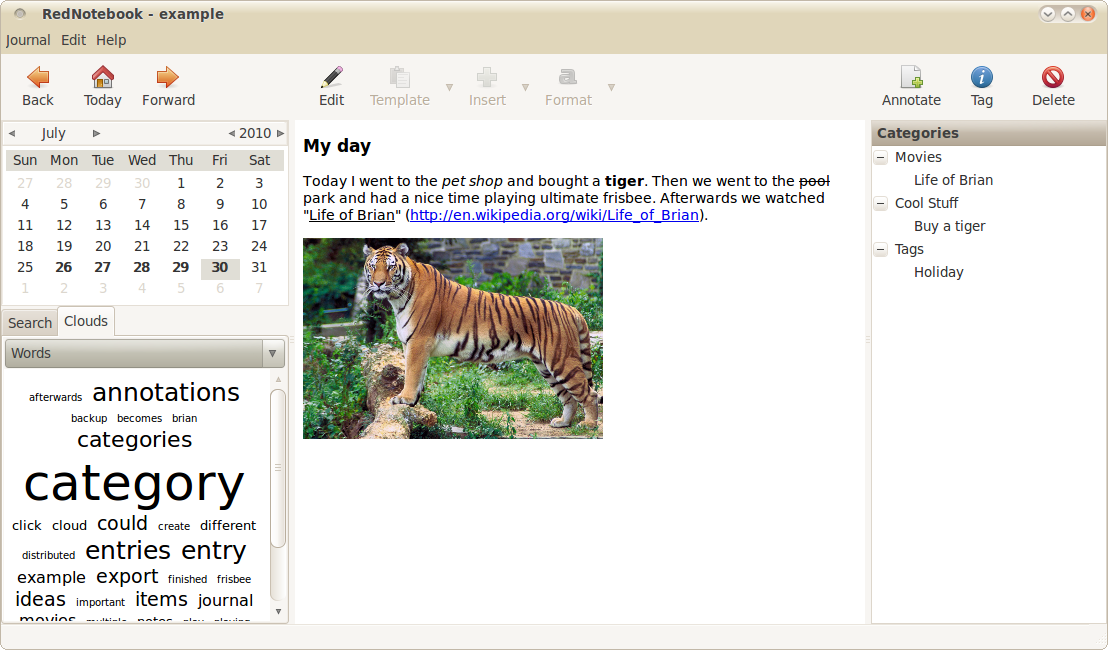 rednotebook sample image Keep a Journal on Your Computer and Convert It to PDF