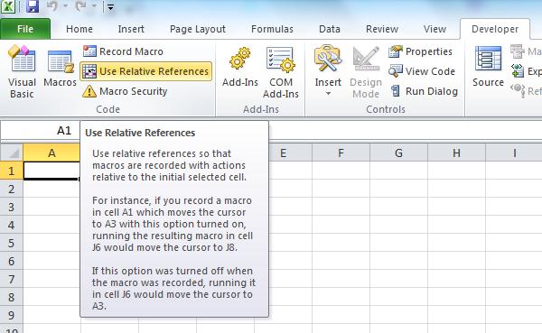 relative references when recording macro