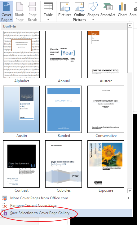 save selection to cover page gallerz How to Create A Cover Page in Microsoft Word 2013
