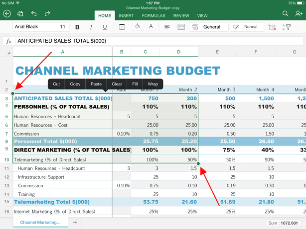 select part of the sheet in excel ipad Guide for selecting data in Excel on iPad