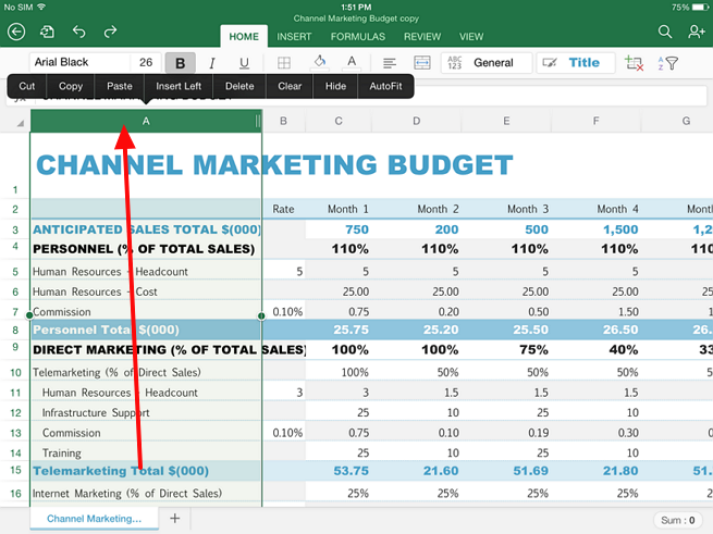 select whole column in excel in ipad Guide for selecting data in Excel on iPad