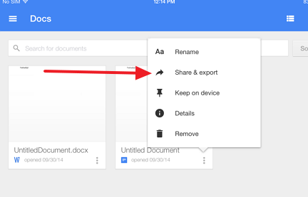 share and export file How to convert a Google document to docx format on your iPad and vice versa