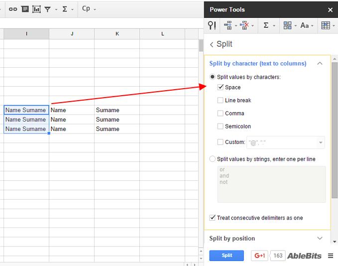 split cells criteria google sheets