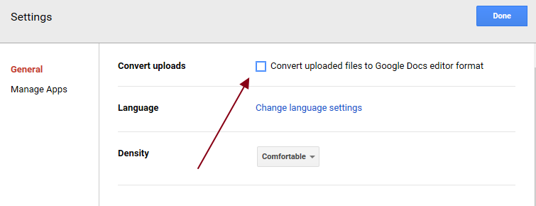 uncheck the google docs conversion Cometdocs Releases a New PDF Converter Extension for Google Drive