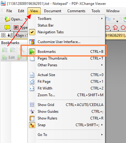 view bookmarks in PDF