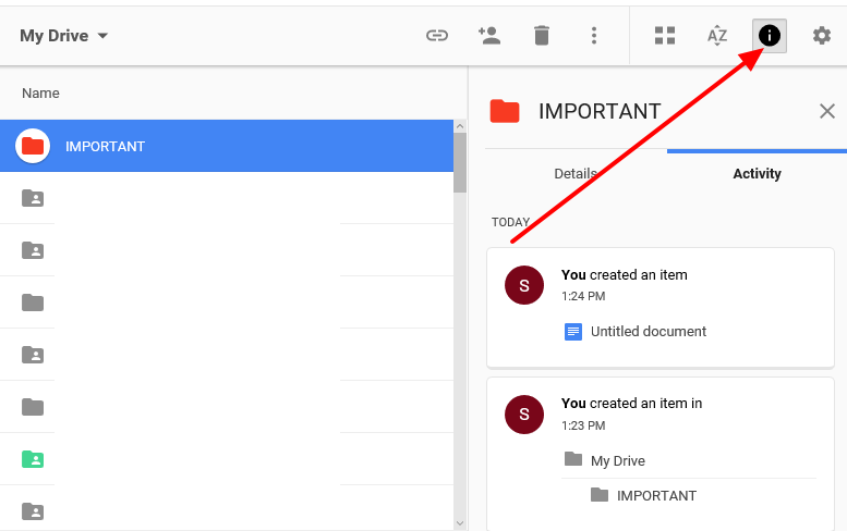 view details of a folder in google drive