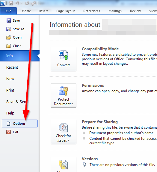 word office file options1 Three steps for preventing data loss while working in MS Office